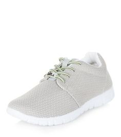 Grey Textured Lace Up Trainers