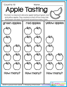 Great for your apple and fall units, this apple graphing worksheet may resemble a graph you use in your classroom. You'll find this sheet in my 50 page set of Fall Counting Worksheets for Kindergarten. Please check it out! Counting Worksheets For Kindergarten, Graphing Worksheets, Alphabet Tracing Worksheets, Upper And Lowercase Letters, Learn To Count, How Many Kids, Math Resources, Fun To Be One, Classroom