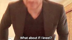 I love this gif....he gets on the floor for an interview...so down to earth, funny, adorable sweet! ♥