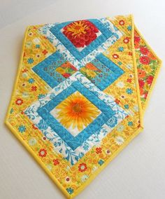 Yellow and Turquoise Floral-Table Runner, Free Shipping to Continental US Table Runners, Turquoise, Quilts, Free Shipping, Blanket, Yellow, Unique Jewelry, Handmade Gifts, Floral