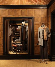 """HACKETT LONDON,""""looks we have a visitor Brian"""", Visual Merchandiser, styling and still life designs Visual Merchandising Fashion, Merchandising Displays, Store Displays, Window Displays, Retail Displays, Retail Store Design, Retail Shop, Fashion Showroom, Tailor Shop"""
