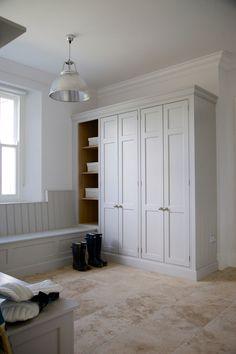 Here you will find photos of interior design ideas. Boot Room Storage, Garage Storage, Mudroom Laundry Room, Laundry Room Inspiration, Hall Design, Built In Wardrobe, Grey Paint, Kitchen Styling, Kitchen Interior