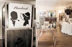 Love the photo booth sign and the vintage  table with photos