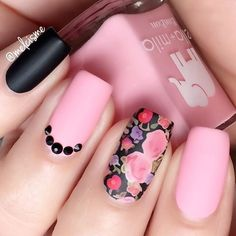 ♡ Matte ✖️ Floral ♡ .  @ellamilapolish : pucker up + matte-ly top coat.  @bornprettystore : water decal 21566.  @daily_charme : black Swarovski.