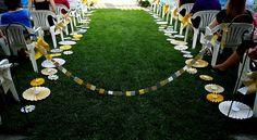yellow and gray pinwheel aisle