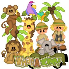 What a Zoo - Treasure Box Designs Patterns & Cutting Files… Scrapbook Stickers, Scrapbook Paper, Scrapbooking Ideas, Kids Punch, Cute Clipart, Zoo Clipart, Baby Clip Art, Pretty Drawings, Paper Piecing Patterns