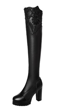 Passionow Women's Fashion Round Toe Chunky Heel Lace Hollow Out Pull-on Platform Over the Knee Long Boots >>> Remarkable product available now. : Desert boots