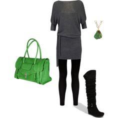 Leggings & Sweater dress, created by julesgirl84 on Polyvore