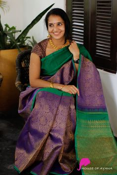 Check out some glorious kanjivaram silk sarees for festivals for the renowned brand called House of Ayana. Indian Bridal Sarees, Indian Silk Sarees, Soft Silk Sarees, Indian Beauty Saree, Mysore Silk Saree, Saree Blouse Neck Designs, Fancy Blouse Designs, Stylish Blouse Design, Saree Photoshoot