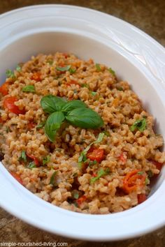 Slow Cooker Farro with Cherry Tomatoes, Basil & Cheese is an easy and healthy side dish or vegetarian dinner - 251 calories and 6 WW Freestyle SmartPoints. Farro Recipes, Slow Cooker Recipes, Crockpot Recipes, Cooking Recipes, Gout Recipes, Crockpot Dishes, Meal Recipes, Salad Recipes, Best Side Dishes