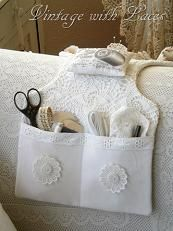 Vintage with Laces: A Couch Caddy - pretty & practical