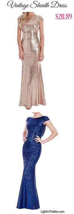 Chic vintage sheath sparkling maxi dress in Gold  Silver  Blue  Purple. Want one? Shop it at $20.89. Click to shop!