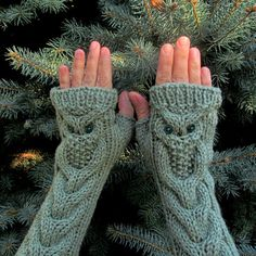 Items similar to Owl Oatmeal Long Hand Knit Cable Pattern Fingerless Gloves on Etsy