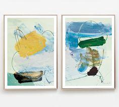 Abstract Print Set, Set of 2 Prints, Abstract Art Print Set, Livingroom Art, Modern Art, Printable art Contemporary Wall Art, Large wall art by DanHobdayArt on Etsy