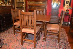 Mission Oak Drop leaf Dining Table/ Kitchen Table with 4 oak chairs/ Conference  #ArtsCraftsMissionStyle