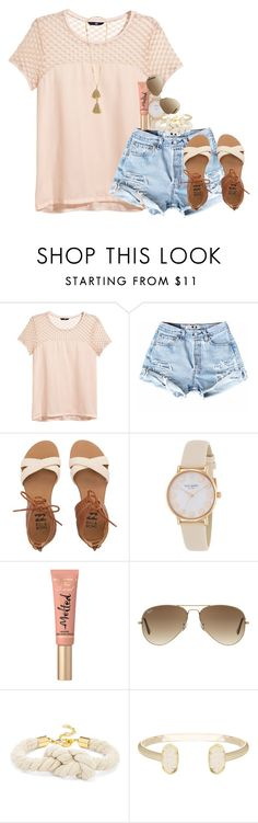 """ruru"" by thefashionbyem ❤ liked on Polyvore featuring H&M, Billabong, Kate Spade, Too Faced Cosmetics, Ray-Ban, BaubleBar, Kendra Scott and Isabel Marant"