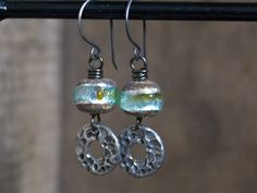 Artisan Lampwork Nugget Earrings with Hand by GillsHandmadeJewels