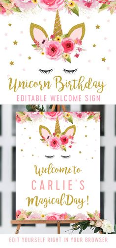 Editable Unicorn Birthday Party Welcome Sign – Pink Gold Glitter – Printable – Personalize Instantly