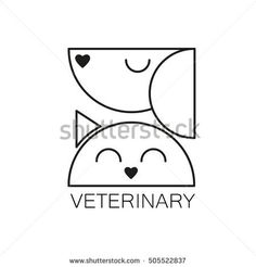 Logo design template for veterinary clinic. Home pets logotype. Dog and cat concept for design of veterinary, pet shop, vetclinic, animal care, or other pet help and etc. Clinic Logo, Pet Clinic, Pet Shop, Logo Design Template, Vector Design, Dog Quilts, Hospital Design, Creative Poster Design, Clinic Design