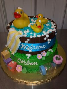 Rubber ducky baby shower cake -