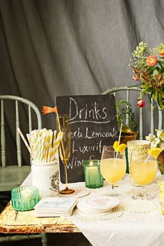 Cheery and natural drinks table
