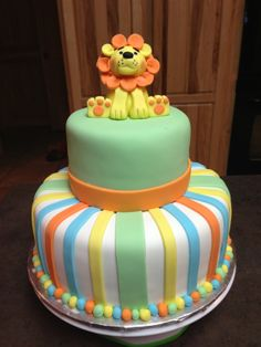 Lion Baby Shower Cake