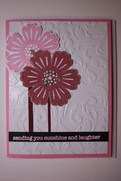 Mixed bunch stamps, Blossom punch and Sizzix embossing folder