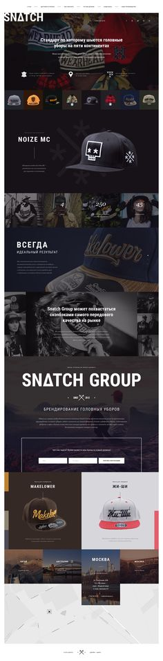 Landing page design for the manufacturer of caps, hats and snapbacks.