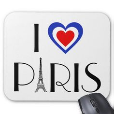 I  Paris Eiffel Tower & Tricolore-Flag Heart Mouse Pad - diy cyo customize create your own personalize