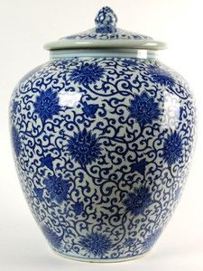 CERAMIC BLUE WHITE GINGER JAR Chinese Vase Lid Lg C