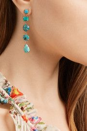 Melissa Joy Manning14-karat gold, sterling silver and turquoise earrings