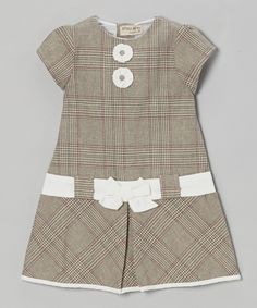 Take a look at this Gray Plaid Bow Cap-Sleeve Dress – Infant & Toddler by P'tite Môm on today!Cute and a little bit official baby dress, nice textile and belt.Finished with a pair of blossom accents and a bow at the waist, this plaid dress is ev Baby Girl Dress Patterns, Little Dresses, Little Girl Dresses, Cute Dresses, Girls Dresses, Stylish Dresses, Toddler Dress, Baby Dress, The Dress