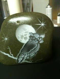 airbrushed owl and moon SNS DESIGNS