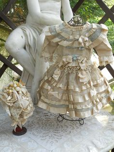 ~~~ Most Beautiful French Bebe Silk Dress with Bonnet ~~~ from whendreamscometrue on Ruby Lane