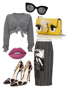 """""""Untitled #237"""" by milly-oro on Polyvore featuring Fendi, Miu Miu, CÉLINE, Lime Crime and Gianvito Rossi"""