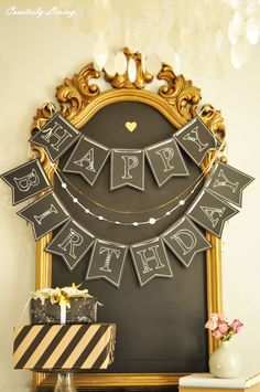 My Happy Birthday Chalkboard Banner for the Michaels and Hometalk Pinterest Party
