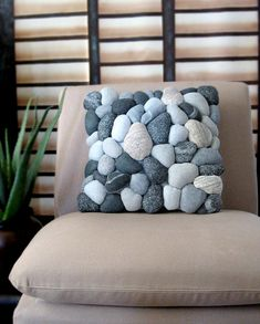 River rock pillow cover