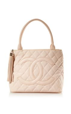 Vintage Chanel Pink Canvas Quilted CC Bag From What Goes Around Comes Around by Vintage Chanel for Preorder on Moda Operandi