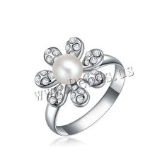 South Sea Shell Finger Ring, Zinc Alloy, with South Sea Shell, Flower, platinum plated, with Austria rhinestone, nickel, lead & cadmium free, 14x14mm, US Ring Size:6-9,china wholesale jewelry beads