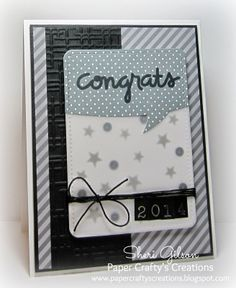 Congrats/Graduation card by Sheri Gilson using Bold Buzzwords (Paper Smooches),  Memento Tuxedo Black Ink, Fog Ink (Avery Elle), Speech Bubble Die (Lawn Fawn), A2 Woven Folders (Lifestyle Crafts), Black Sequins, Hemptique Twine, Scor-buddy, ATG Tape.   All available at iheartpapers.com