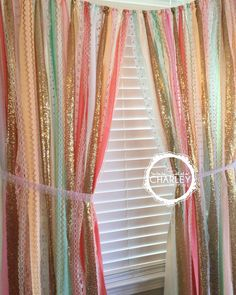 Sherbet blends with gold garland curtain is made with coral, peach, mint, pink and sparkley gold sequin and lace. Torn and rag tied - edges are meant to fray.  Dress your windows in sequin! - the perfect accessory.  Other garland uses: Special Events: Perfect for accenting cake smash photo prop, cake table, nursery, doorways, ceremony stage, drape between trees or use as your photo booth background. - bridal shower, baby shower, birthday parties, graduations, retirement parties, engagement…