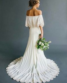 The Most Gorgeous Wedding Dresses | Off the shoulder wedding dress | fabmood.com #weddingdress #weddinggown #bridalgown #crochetweddingdress