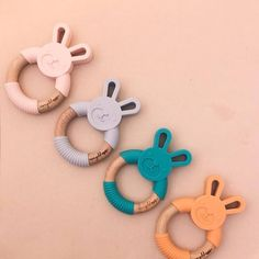 Adorable bunny teether made from silicone and natural beech wood. Buy All The Things, Natural Teething Remedies, Easter Gift Baskets, Best Baby Shower Gifts, Gifts For New Parents, Christmas Gift Guide, Wooden Rings, Beautiful Children, Baby Gear