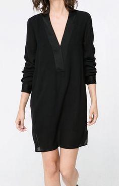 Black V-neck Long Sleeves Chiffon Shift Dress