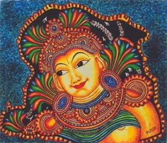 A Goddess painting done in Mural. A mural is any piece of artwork painted directly on a wall, ceiling, or other large permanent surface. Gond Painting, Kerala Mural Painting, Ganesha Painting, Buddha Painting, Tanjore Painting, Rajasthani Art, Buddha Sculpture, Mural Art, Murals