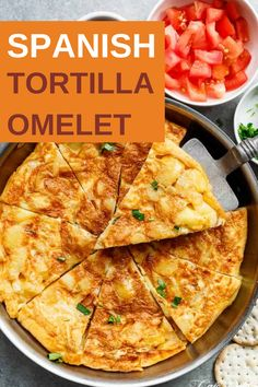 Spanish Tortilla Omelet! Spanish omelette (spanish tortilla) is perfect served hot or cold, and so easy to make! Crispy, fried potatoes and eggs make up this popular Spanish Omelette (Tortilla) recipe, perfect for picnics, parties, bbq's, or your traditional Tapas menu! Upgrade your omelette! #omelet #spanishrecipes #spanishomelet #healthyrecipes #breakfastrecipe Delicious Breakfast Recipes, Brunch Recipes, Healthy Recipes, Healthy Eats, Healthy Foods, Dinner Recipes, Easy To Make Breakfast, Easy Food To Make, Breakfast Ideas