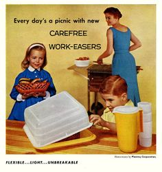 """How to make every day a picnic! """"carefree work-easers"""" ... isn't that what every homemaker wants? """"Work-easers""""?"""