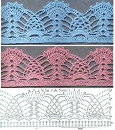 36 Best Ideas for crochet afghan borders simple Crochet Border Patterns, Crochet Boarders, Crochet Lace Edging, Crochet Motifs, Crochet Diagram, Crochet Chart, Thread Crochet, Crochet Designs, Crochet Doilies