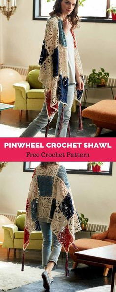 SHAWLS & COWLS: Pinwheel Crochet Shawl; An easy crochet shawl with a standout motif! Crocheted using Patons Grace, a beautiful mercerized cotton yarn that's great for fine crochet details and blocks beautifully, your project is sure to have a professional looking finish.. Go check it out! #pattern #design #crochet #yarnlove