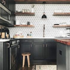 kitchen inspiration with bright white wall tiles for a pop! Dark kitchen inspiration with bright white wall tiles for a pop!, Dark kitchen inspiration with bright white wall tiles for a pop! White Kitchen Decor, Home Decor Kitchen, Interior Design Kitchen, New Kitchen, Kitchen Ideas, Kitchen Designs, Awesome Kitchen, One Wall Kitchen, Smart Kitchen